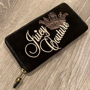 Juicy Couture Black Velvet Embroidered Wallet